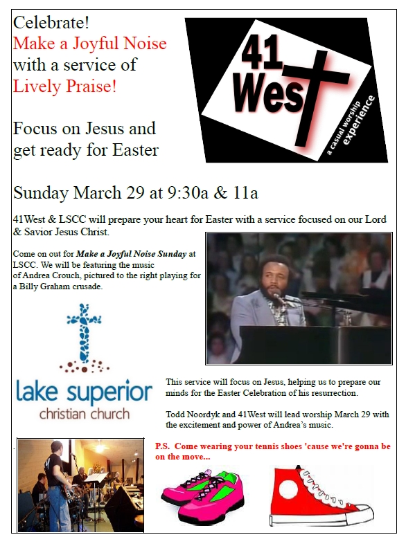 Celebrate - Make a Joyful Noise with a service of Lively Praise - March 29th